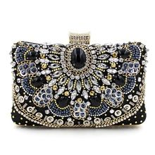 342601713743 Роскошные высокое качество ручной работы из бисера цепи алмазов драгоценный  камень черный вечерняя ну вечеринку сумки , клатч мини-сумка(China  (Mainland))