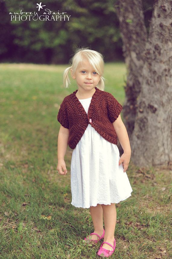2670cf231848 Little Girl s Brown Shrug Shortie Sweater by Crocheted4Kids