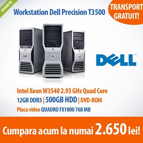 Astazi avem pentru tine Workstation Dell Precision, cu procesor Intel Xeon W3540 2.93 GHz, memorie 12GB DDR3, placa video QUADRO FX1800 768 MB la un pret special - numai 2.650 lei! Oferta in limita stocului disponibil!