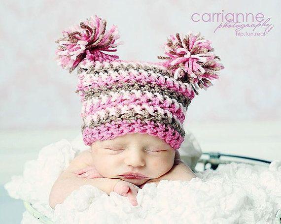 Double Pom Pom Hat Crochet PATTERN...ALL sizes por RAKJpatterns | bb ...