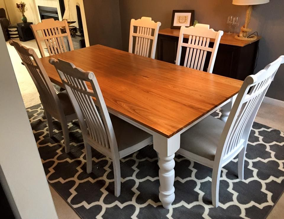 Farmhouse Table with Hickory wood top and white painted