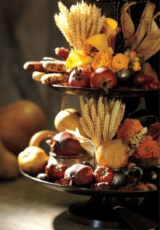 Harvest decorated tiered plate stand--cute for Thanksgiving! Alter