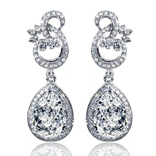 EVER FAITH® Austrian Crystal Gorgeous Floral Teardrop Engagement Dangle Earrings Silver-Tone K0GH5