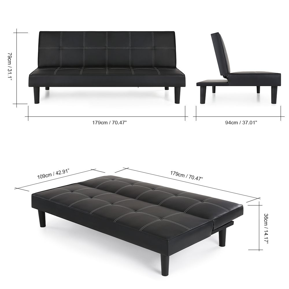 Black Ikayaa Faux Leather Futon Couch Sleeper Black Sofa Bed Black Lovdock Com Futon Living Room Sofa Bed Black Leather Futon