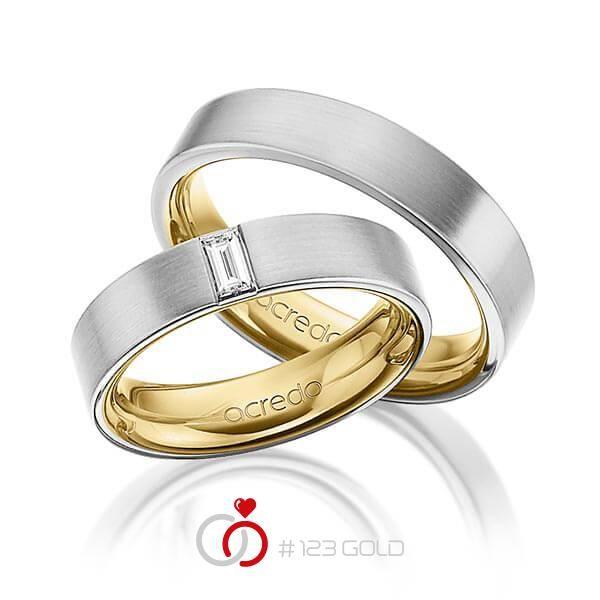 1 Paar Trauringe - Legierung: außen Graugold 585/- , innen Gelbgold 585/- Breite: 5,00 - Höhe: 2,40 - Steinbesatz: 1 Brillant 0,2 ct. tw, vs (Ring 1 mit Steinbesatz, Ring 2 Trauringe Steinbesatz)