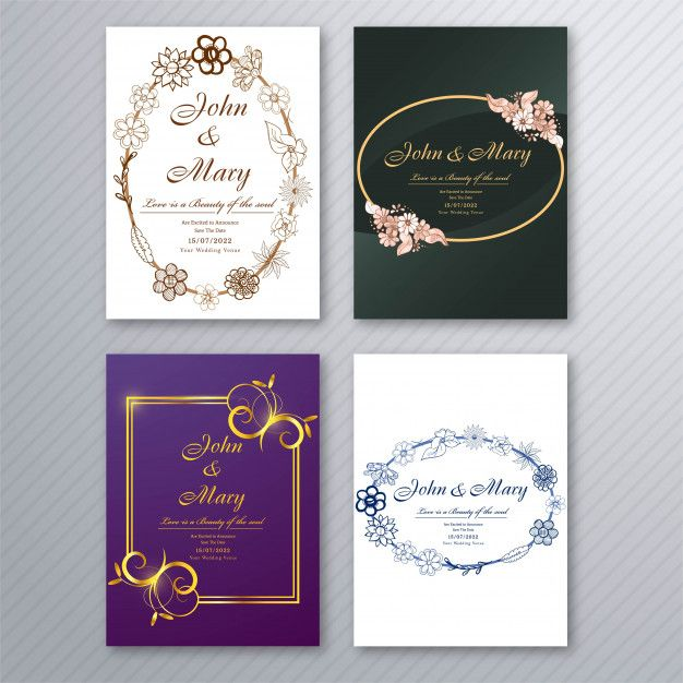 download wedding invitation card template with decorative