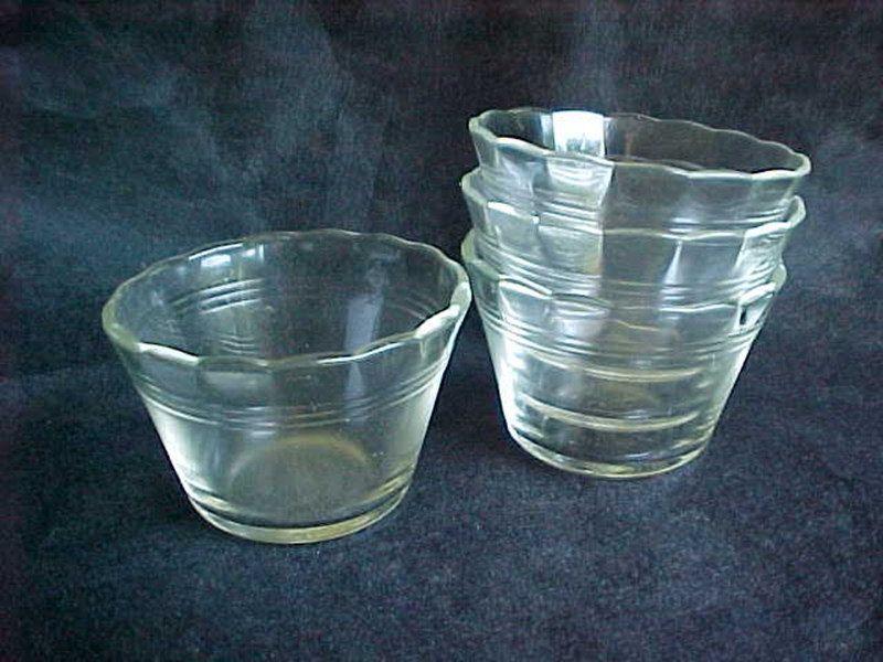 Vintage Green Transparent Glass Custard CupsRamekins Set of 3