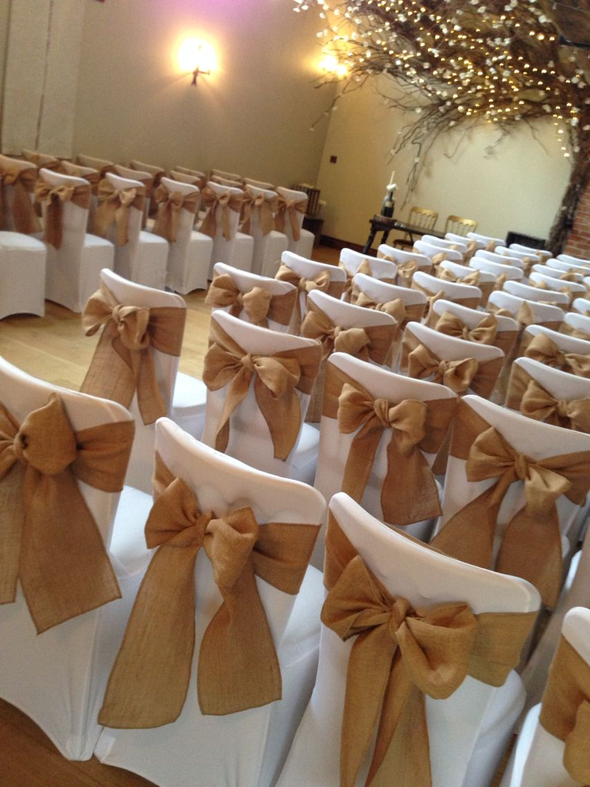 Hessian Bow With Chair Covers Chair Covers Wedding Chair Covers Party White Chair Covers