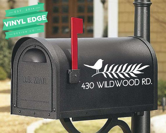 Set of 2 Custom Street Name and Number Mailbox Personalized Vinyl Decals - Custom Number and Street Name Decal - Vinyl Lettering [MBX0015] _______________  There's no better way to personalize your mailbox than with custom vinyl decals! This design features a bird and leaf design as well as your custom house number and street name information.  This order is for two (2) decals, one for each side of the mailbox. If you'd like just one decal, please send us a message for a custom order that…