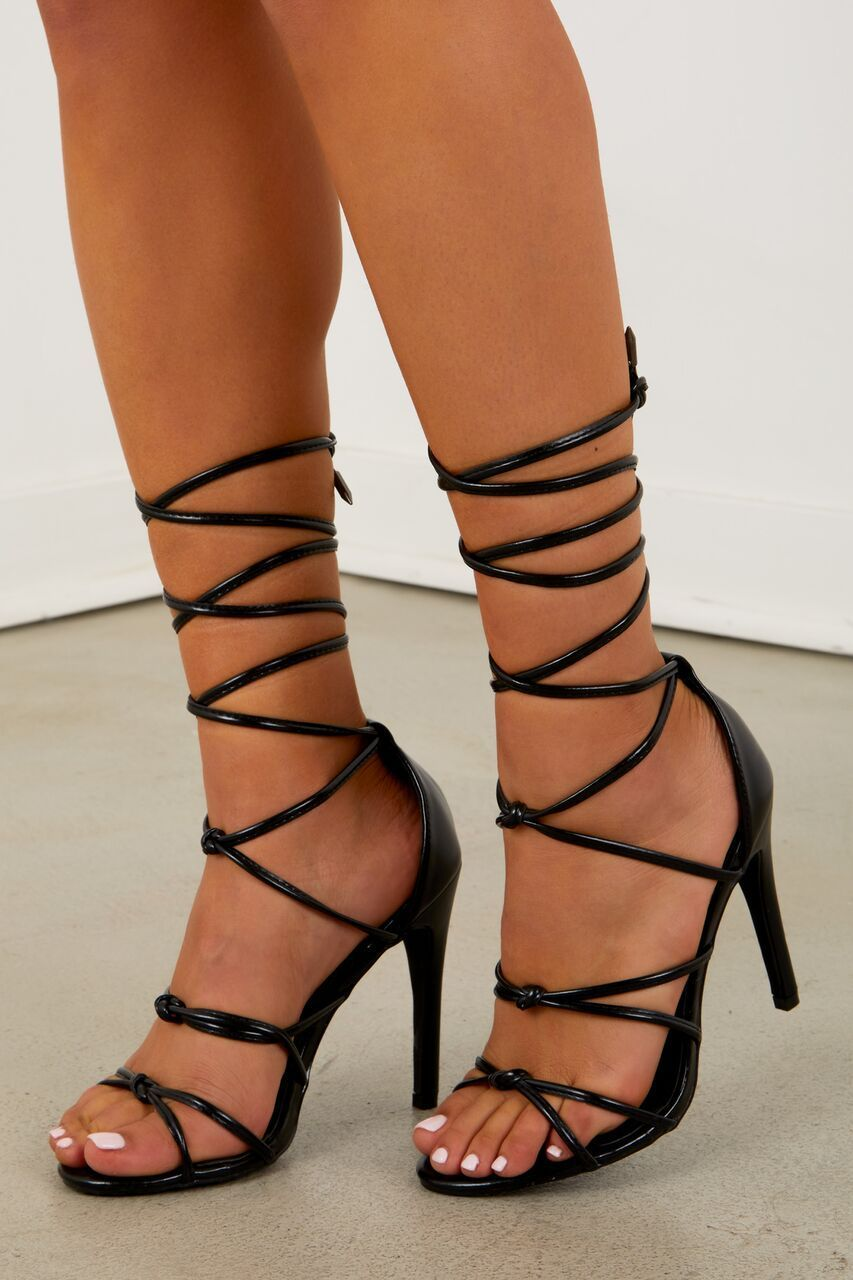 4762964cbe72a Tie Up Clear Heel - Black in 2019 | Clothes♡ | Heels, Clear heels ...