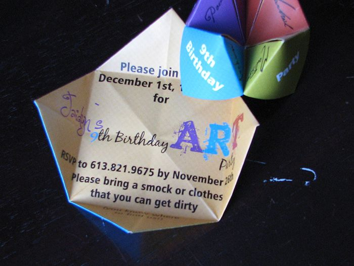 Cootie Catcher - Birthday Party Invitation from Daisy DesignsDaisy Designs of Ottawa