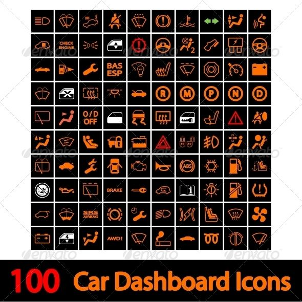 100 Car Dashboard Icons 100 Car Dashboard Icons Vector