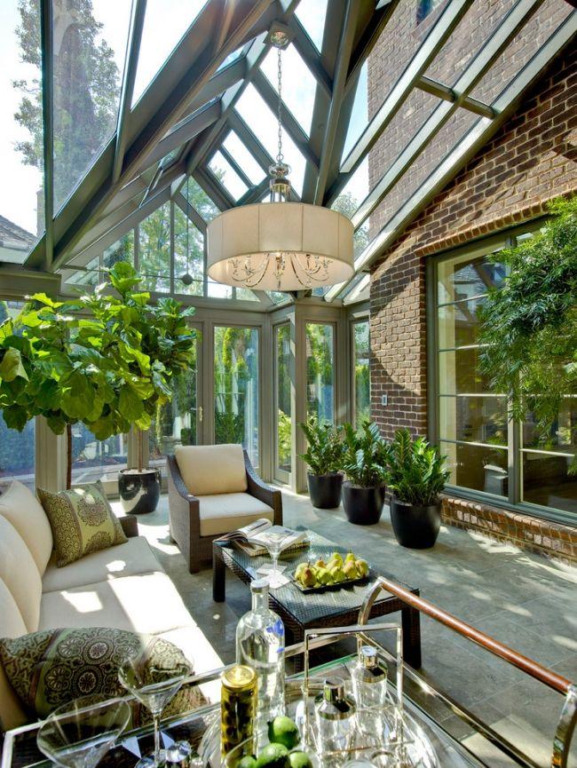 wintergarten terrassenverglasung hängepflanzen hausbar | Blumenbeete ...