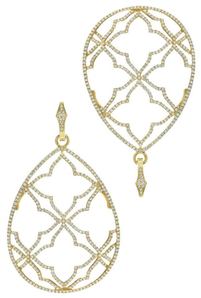 An oversized pair of earrings, like these open face diamond drops by Katie Decker, look perfect with a softly swept up-do   #Eisemanbridal