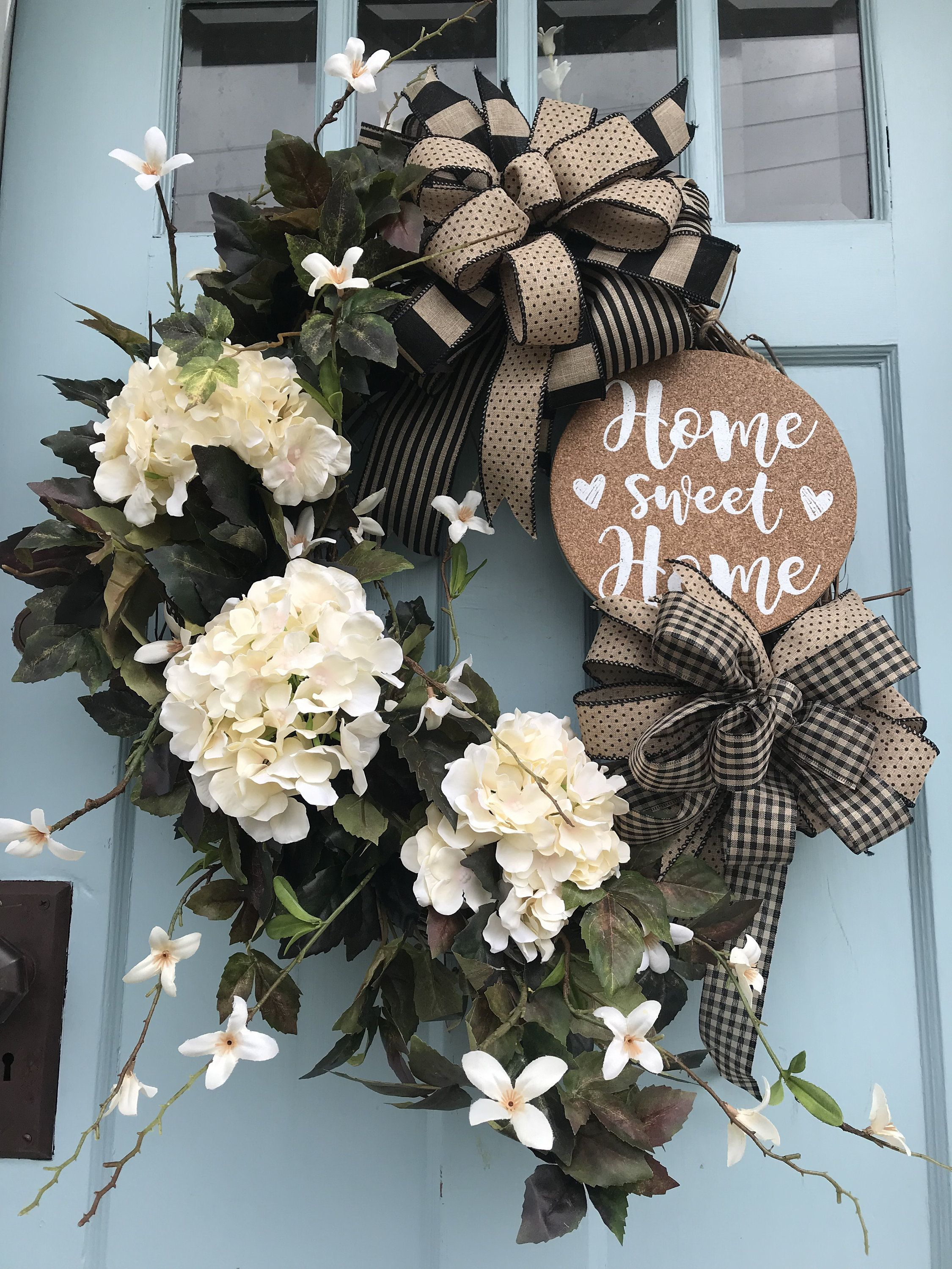 """Photo of Farmhouse Champagne Hydrangea """"Home Sweet Home"""" summer grapevine wreath for door. Wreaths, wreaths for front door, farmhouse, christmas"""