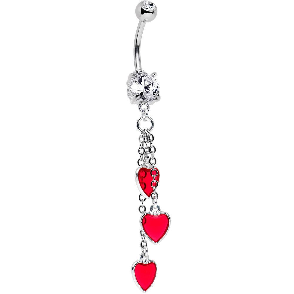 Belly piercing jewelry  Handcrafted Hearts Dangle Belly Ring Created with Swarovski Crystals