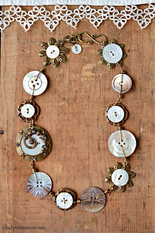 Mother of pearl and brass button necklace by Cindy Wimmer ~ Winter 2015 Jewelry Affaire