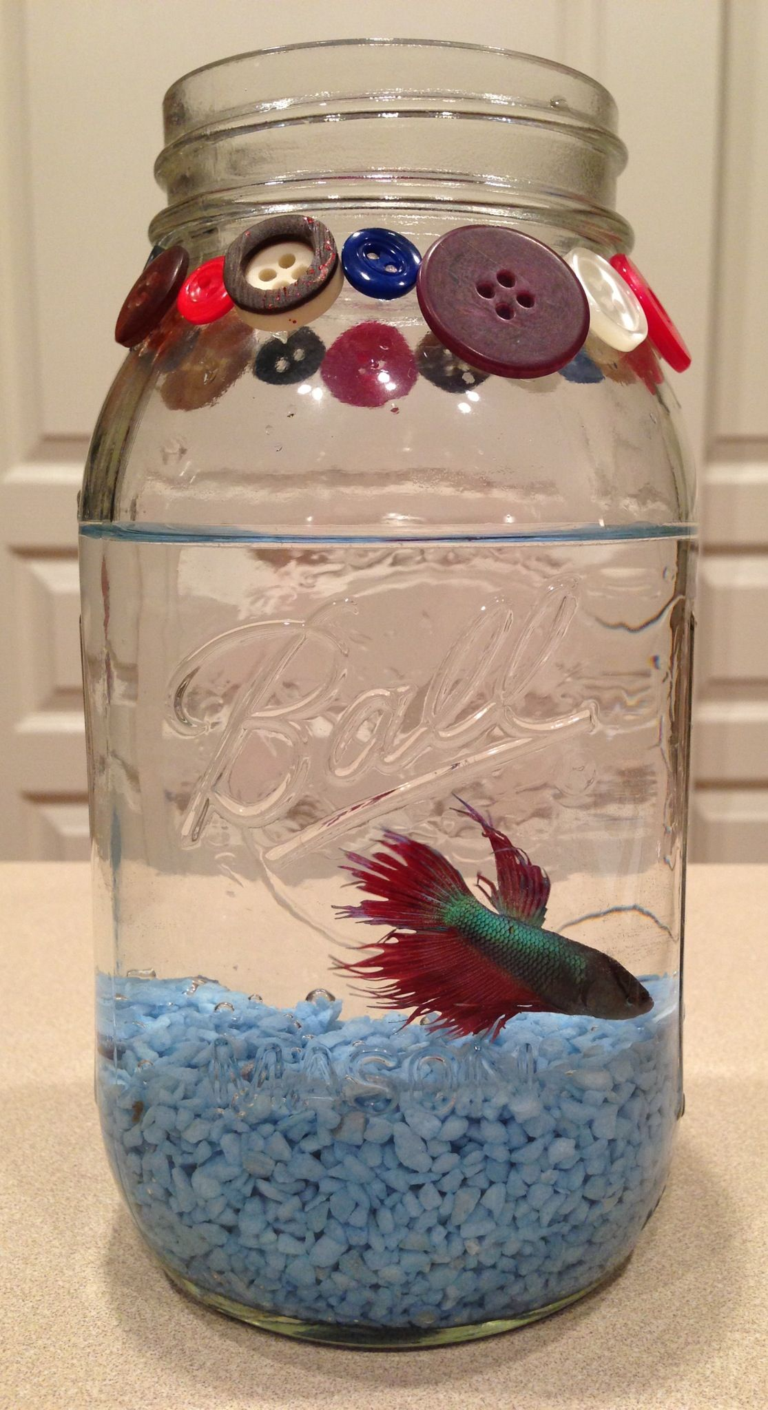Decorate A Jar Use A Mason Jar As A Fish Bowl Decorate With Buttons Ribbon