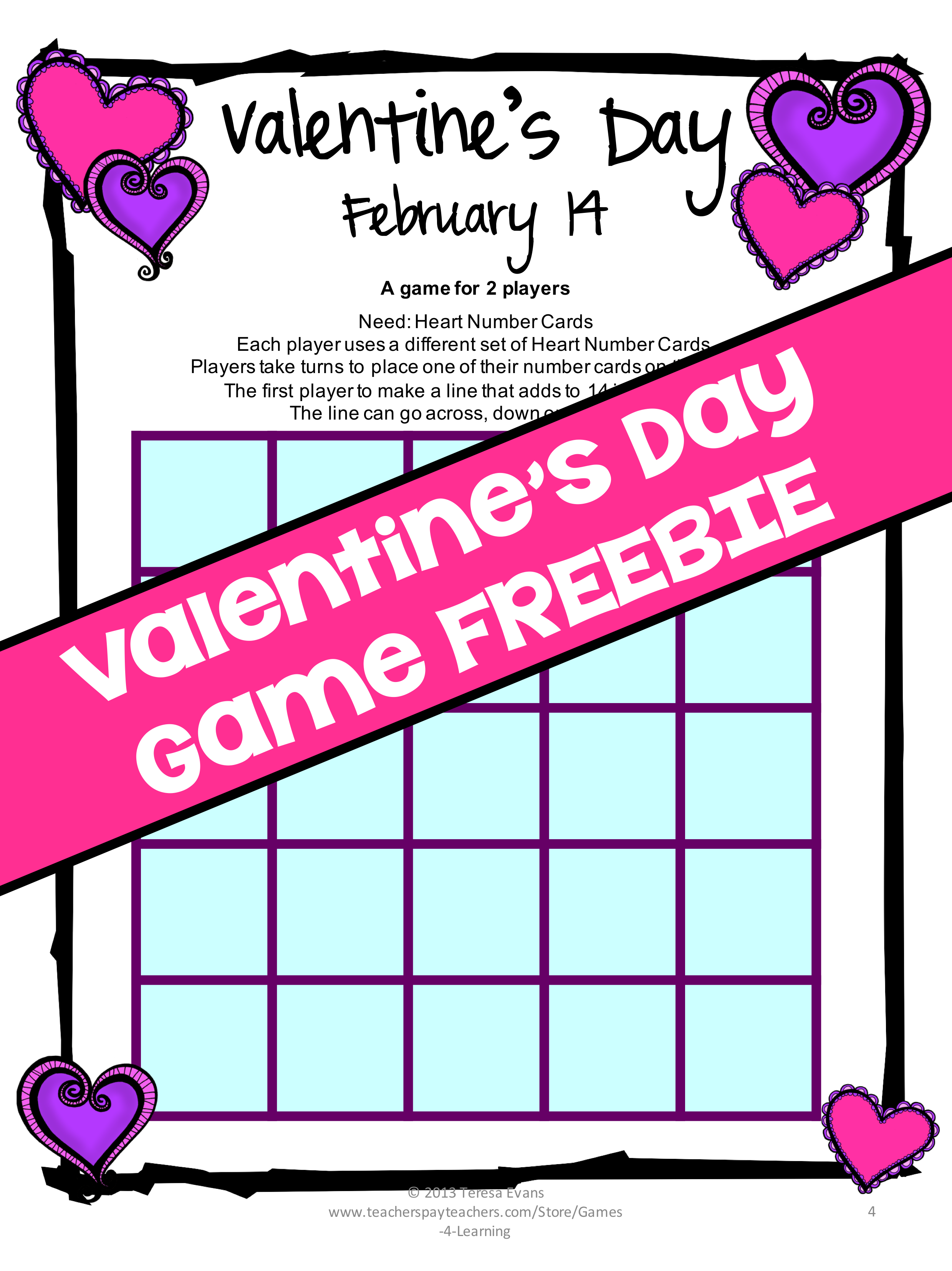 FREEBIE: A Valentines Day Math Game! | Math Freebies | Pinterest ...