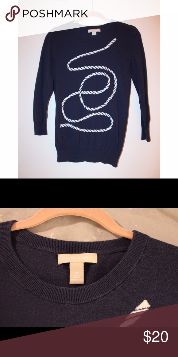 4ce4522b7 Banana Republic Rope Sweater This super cute navy sweater has some ...