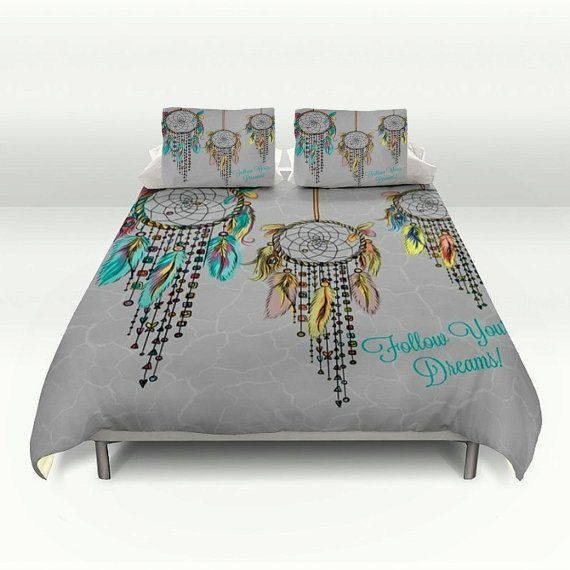 Dream Catcher Bedding Duvet Cover Set Follow Your Dreams Quote Gorgeous Dream Catcher Comforter