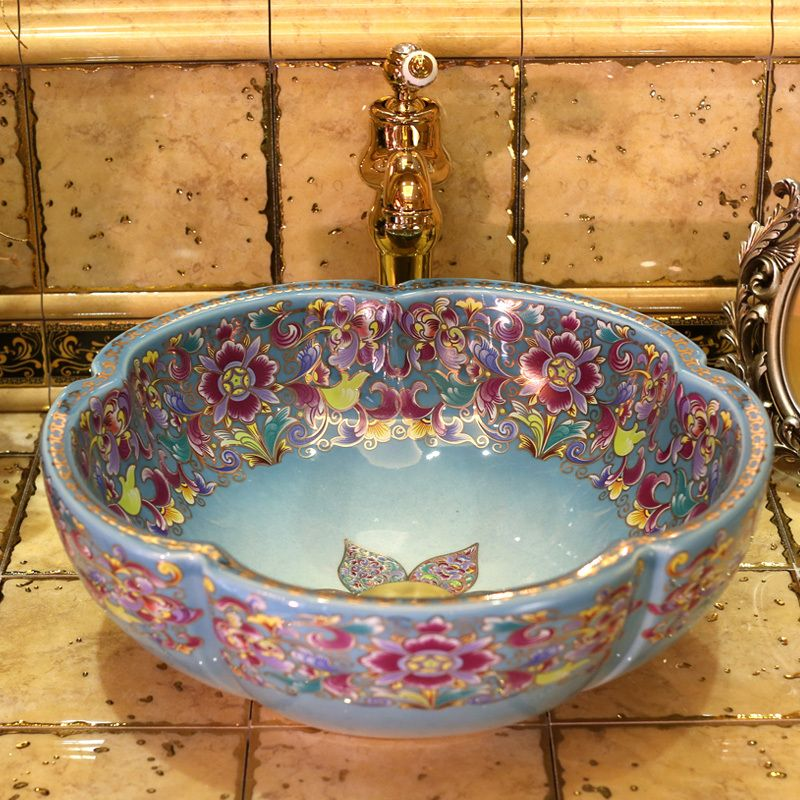Europe Vintage Style Art Porcelain Countertop Basin Sink Handmade