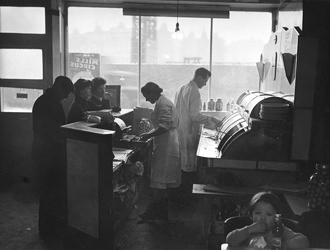 Edwin Smith 'Ideal' fish and chip shop, London, 1958