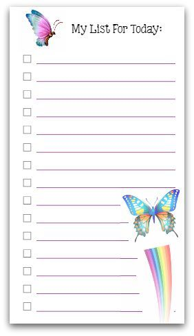 Personal Size To Do List - Butterflies! printable Planners
