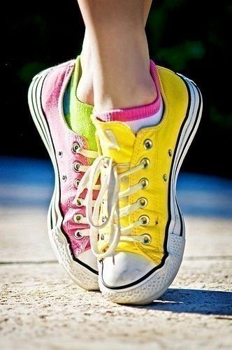 bef352813152 Jordan s style- each shoe different color ))   completely obsessed w   Converse! Has about 12 pair!