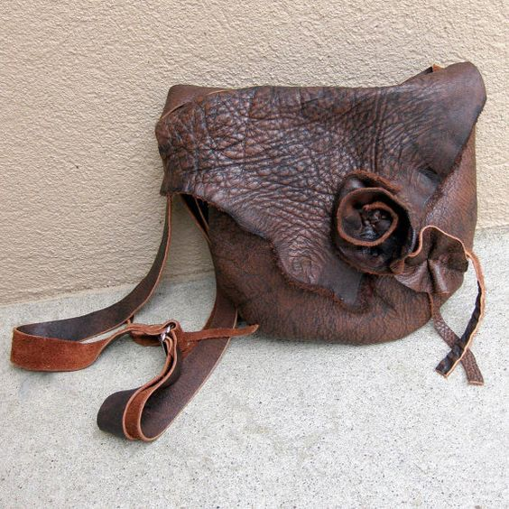 Adorable handmade rustic leather bag with leather rose.: