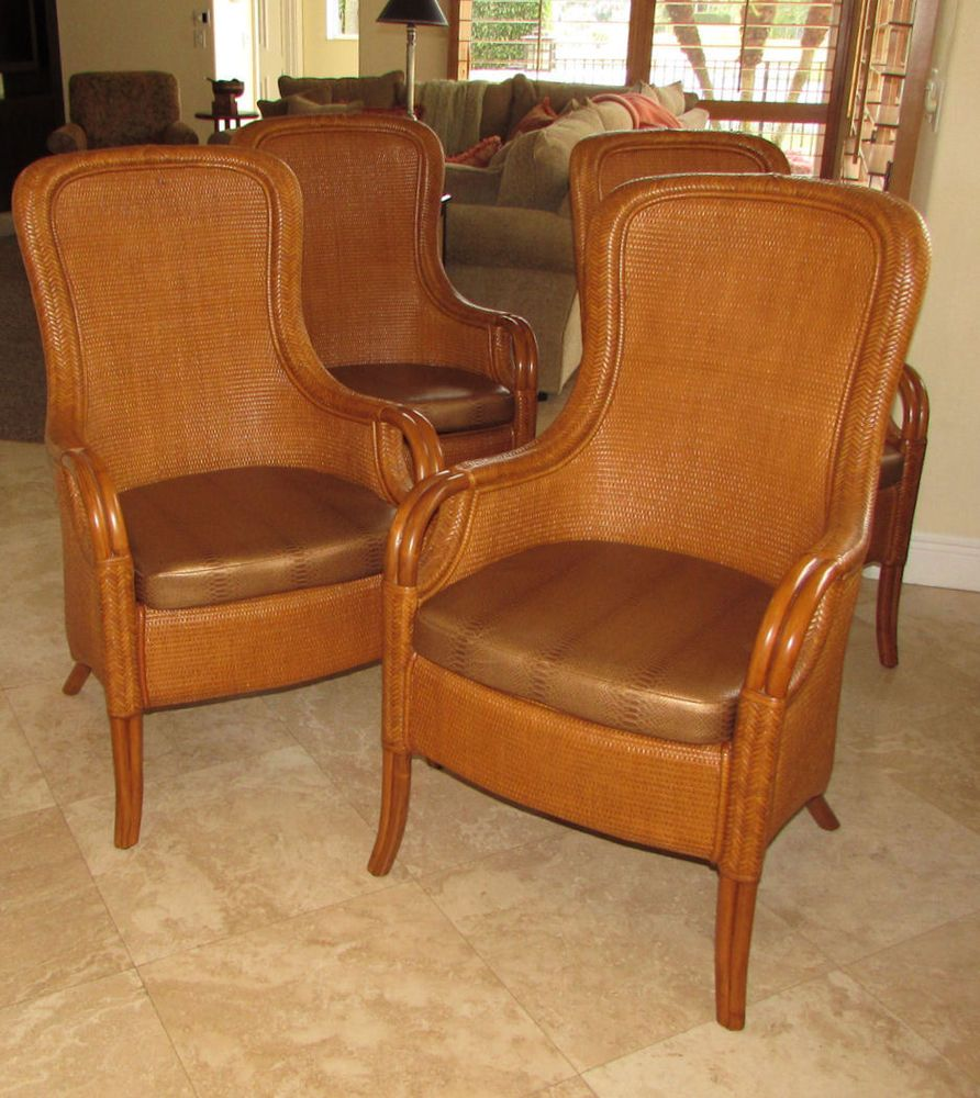 Set Of 4 Authentic Tommy Bahama Wicker Rattan Dining Chairs By Lexington Lexingtontommybahama Tropical