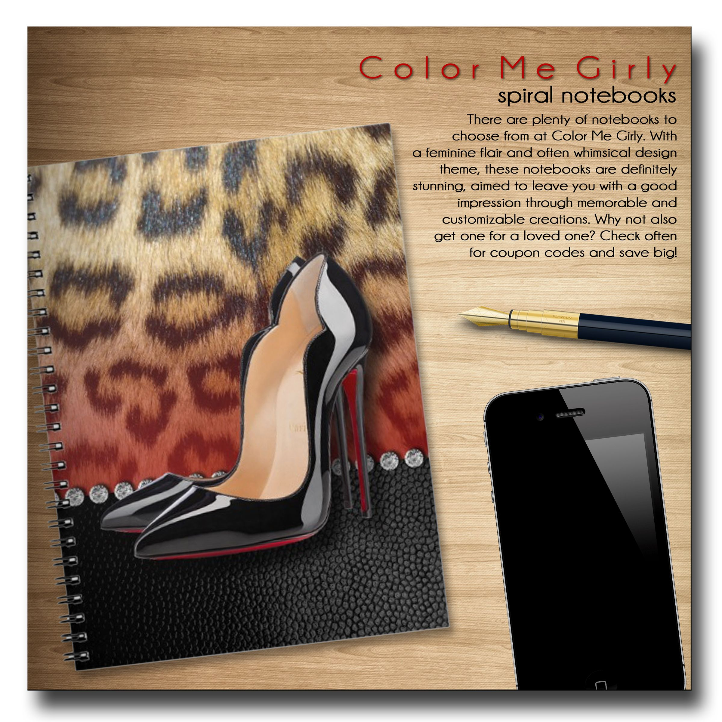 High Heel Stilettos And Leopard Print Notebook   Notebook, Notebooks,  Spiral Notebook, Office