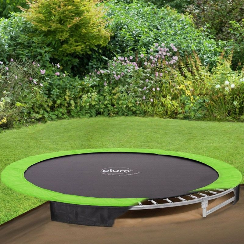 Buy The Plum 12ft In Ground Trampoline At All Round Fun Durable Jumping Mat And Free Weather Cover Includes In Ground Trampoline Backyard Backyard Trampoline