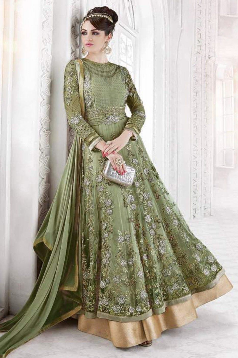 6629d2abbd Green Color Net Fabric Heavy Embroidered Work Indian Bride Wedding Wear  Occasionally Floor Length Designer Anarkali Suit