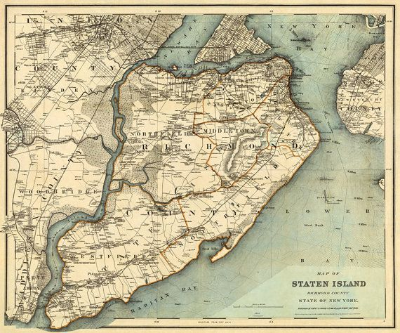 Old Staten Island Maps Staten Island map   Old map of Staten Island   Fine reproduction
