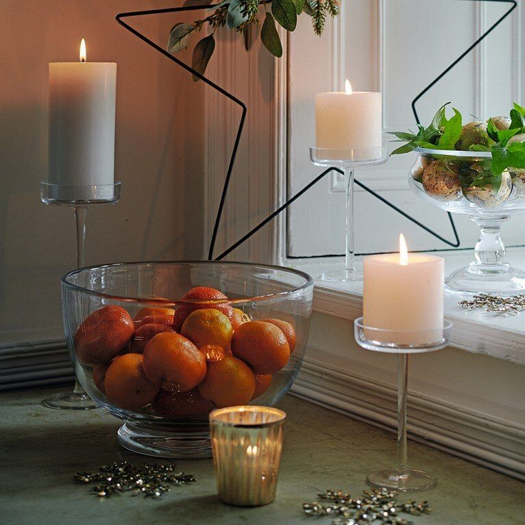 Large Glass Satsuma Bowl Glassware The White Company With Images Glass Pillar Candle Holders Glass Pillar Candle Large Pillar Candle Holders