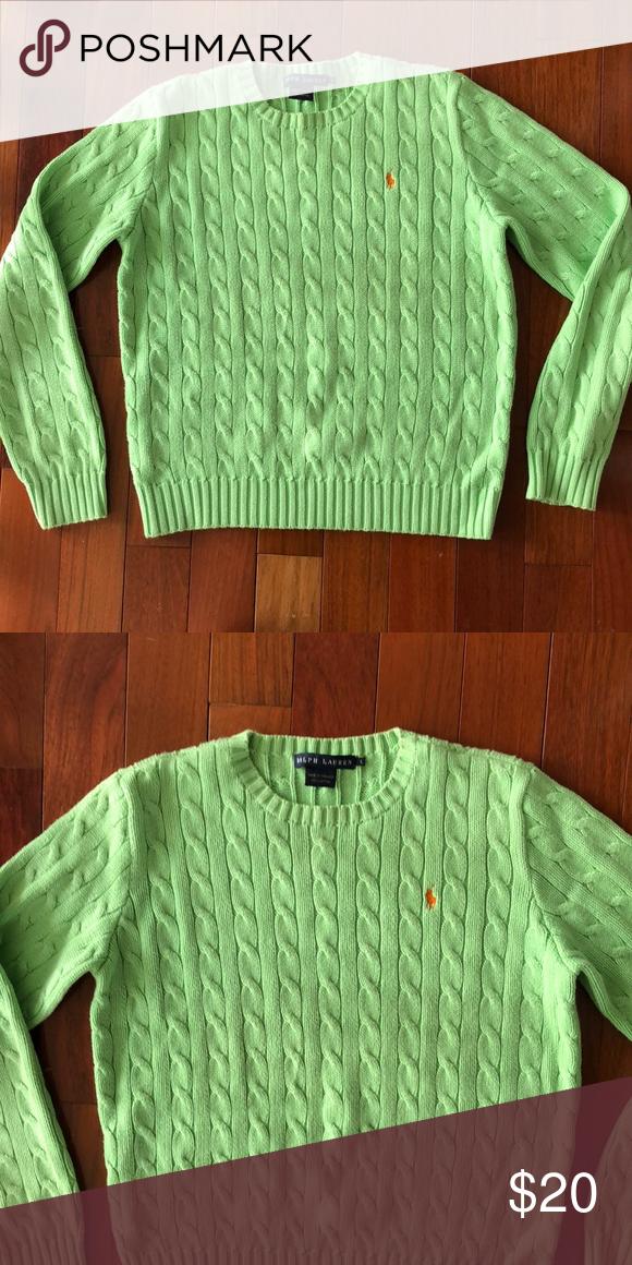 Ralph Lauren Apple Green Cable Knit Sweater My Posh Closet