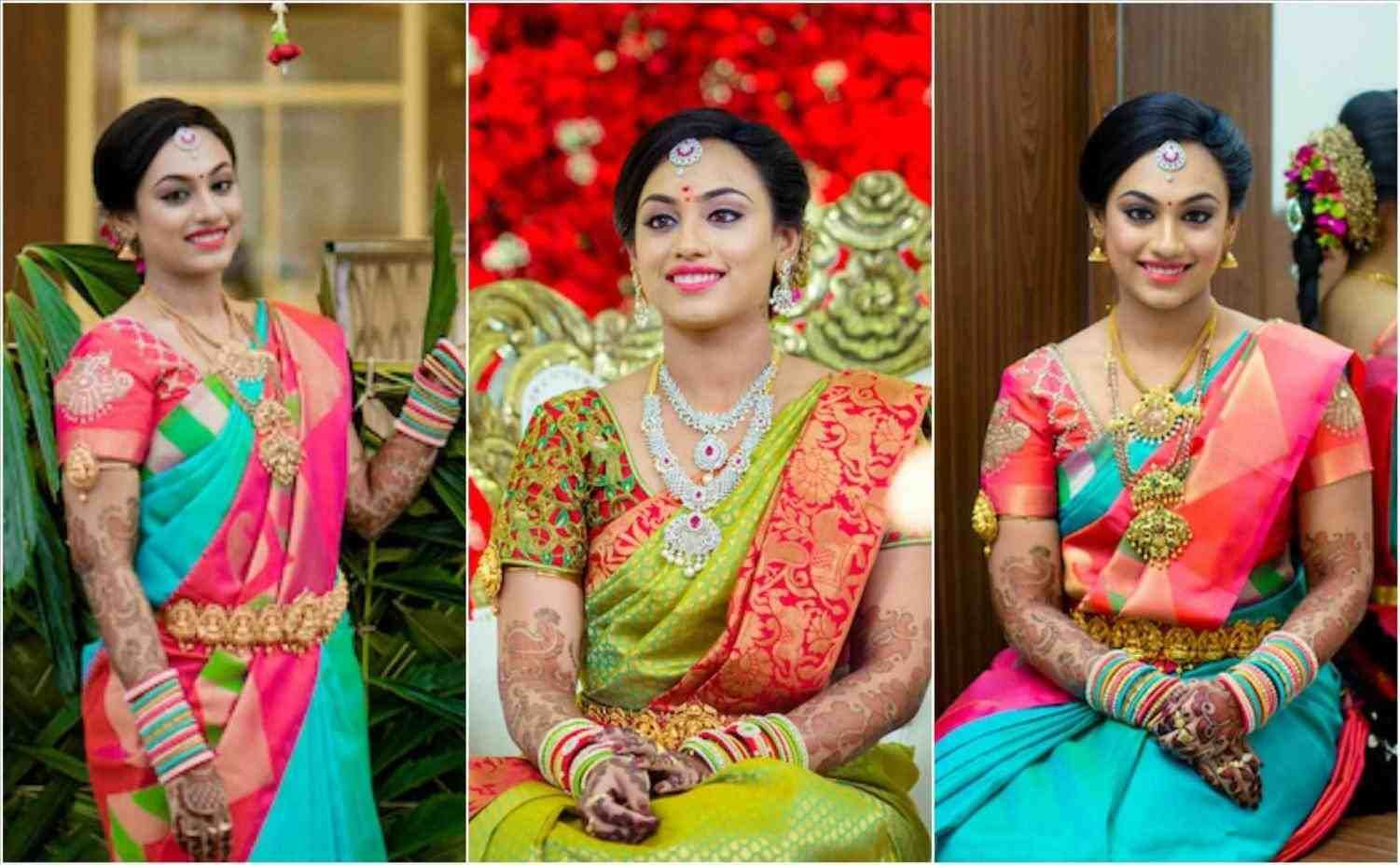traditional hairstyle for engagement | bridal sarees south