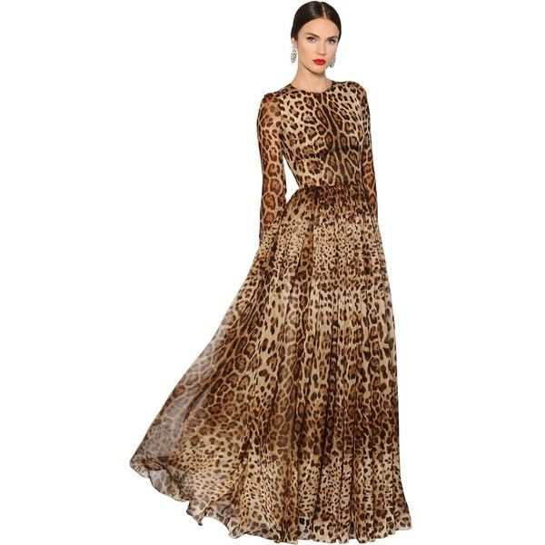 Dolce & Gabbana Women Leopard Printed Silk Chiffon Dress ($5,855) ❤ liked  on Polyvore featuring dresses, leopard, beige long sleeve dress, leopard  print ...
