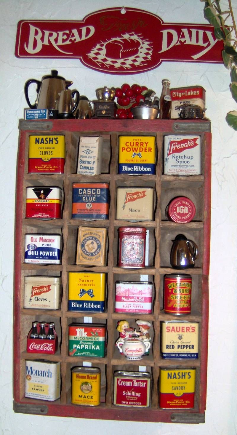 One of my vintage tin displays in my kitchen for Retro kitchen set of 6 spice tins