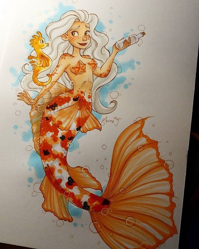 Yup, I think it's pretty safe to say that this is my best mermaid so far. Made for @hope.hokulani 's mermaid contest #hokulani100kcontest #mermaids #mermaid #mermay #koi #drawing #art #artist #artistic #artsy #copics #copic #markers #copicmarkers #copicmarkerdrawing #cute #pretty #proud #girl