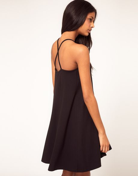 0de4bf96c90 Asos Summer Dress with Strappy Back Swing Hem in Black - Lyst