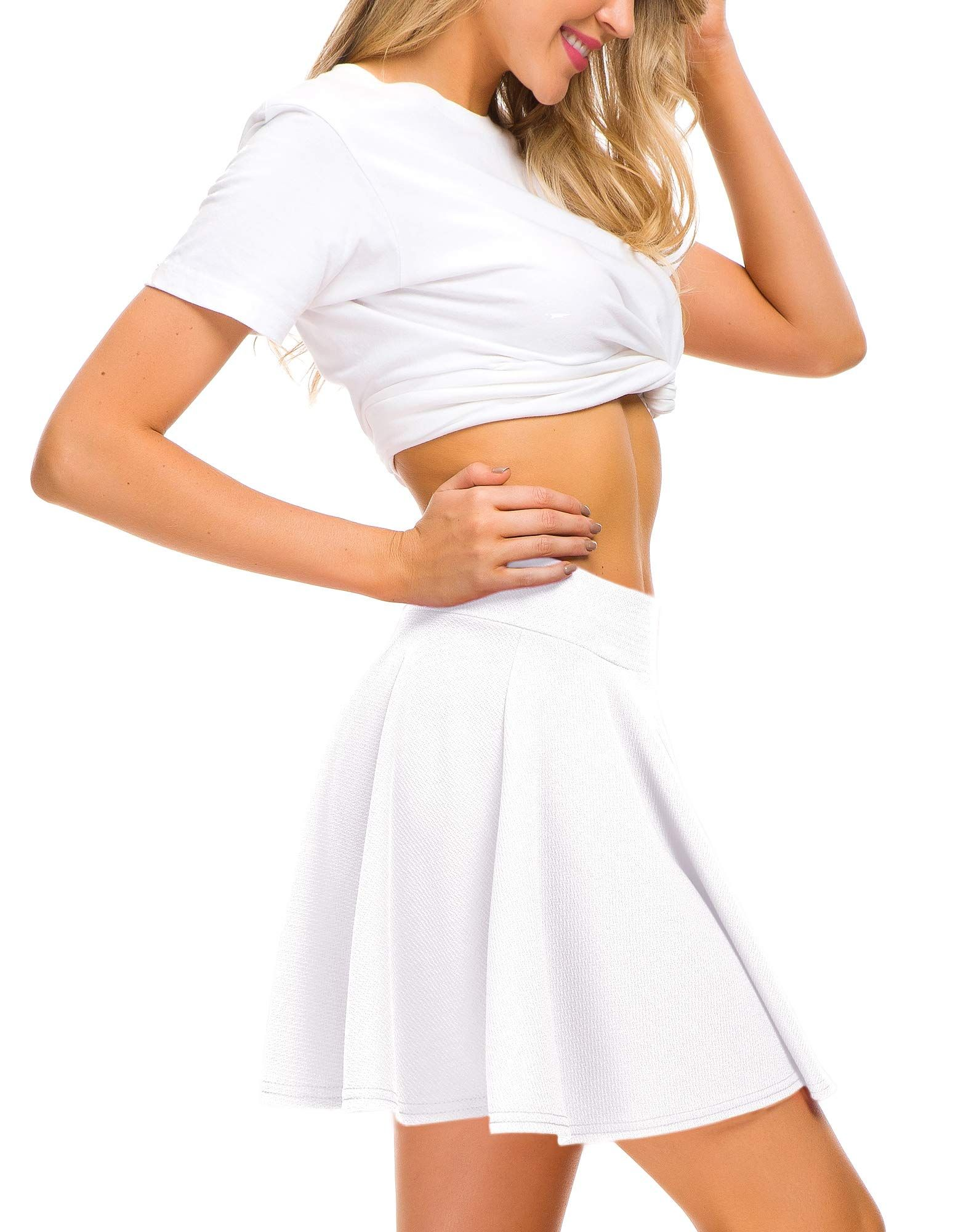 387362ca8 EXCHIC Women Stretch Waist Flared Mini Skater Skirt Casual Pleated Skirts S  White ** You can get additional details at the image link.