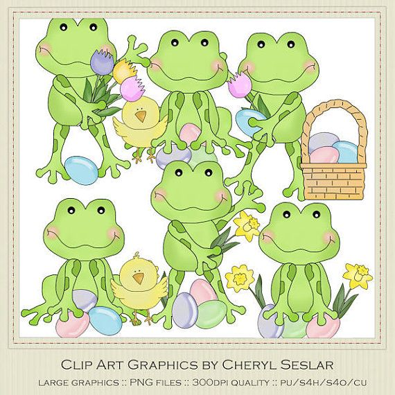 Wee Frogs Easter Holiday Clip Art by Cheryl by marlodeedesigns, $1.50