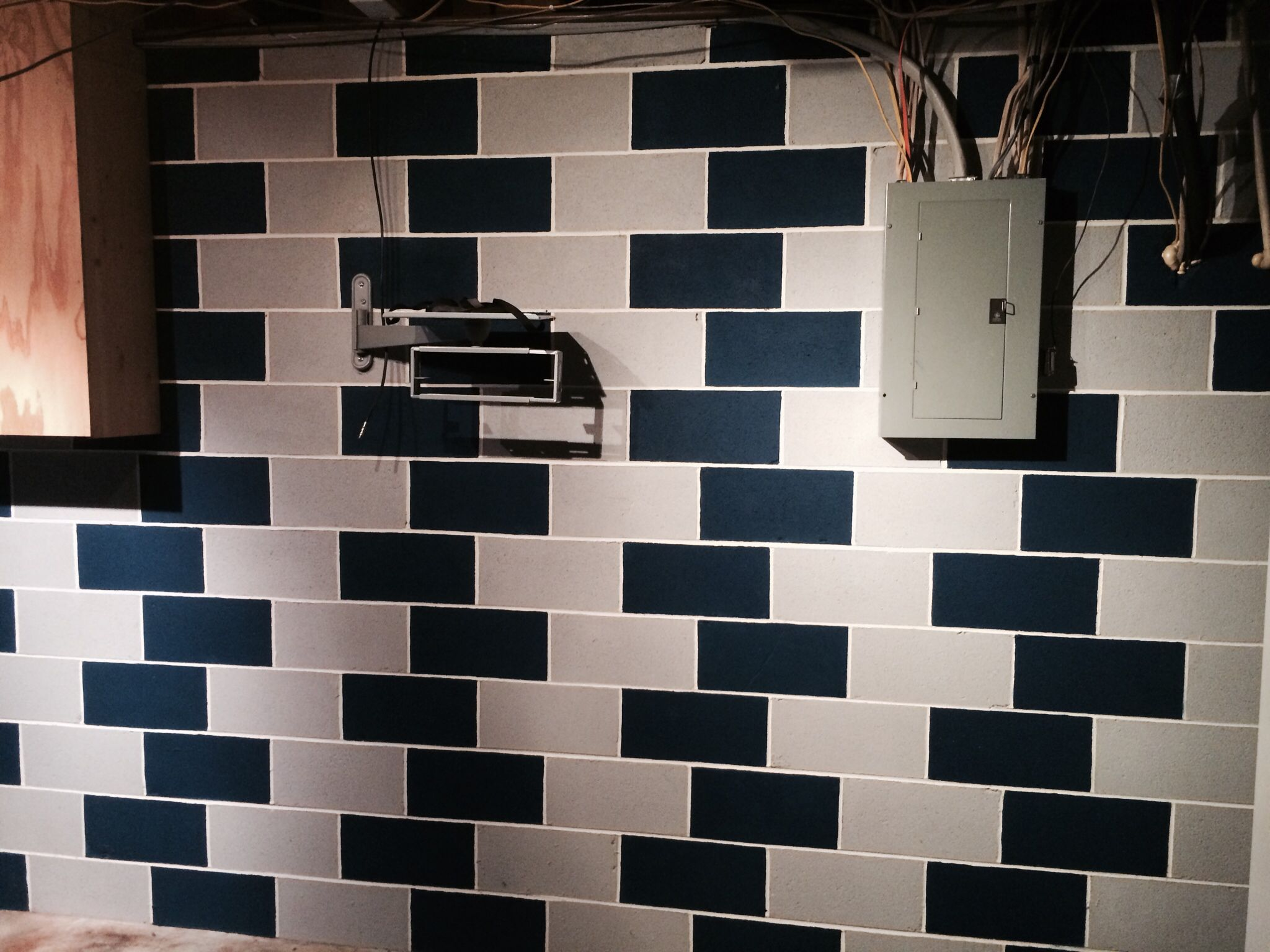 add some interest to your cinderblock basement wall by adding some paint cool decorating. Black Bedroom Furniture Sets. Home Design Ideas