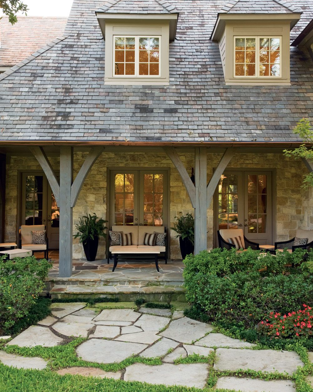 An inviting space to sit and stay awhile porches for Country house exterior