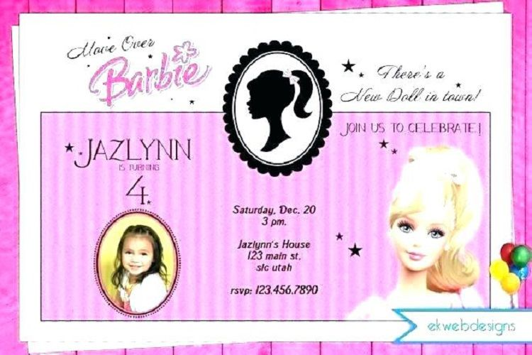 Free Editable Barbie Birthday Invitation Cards