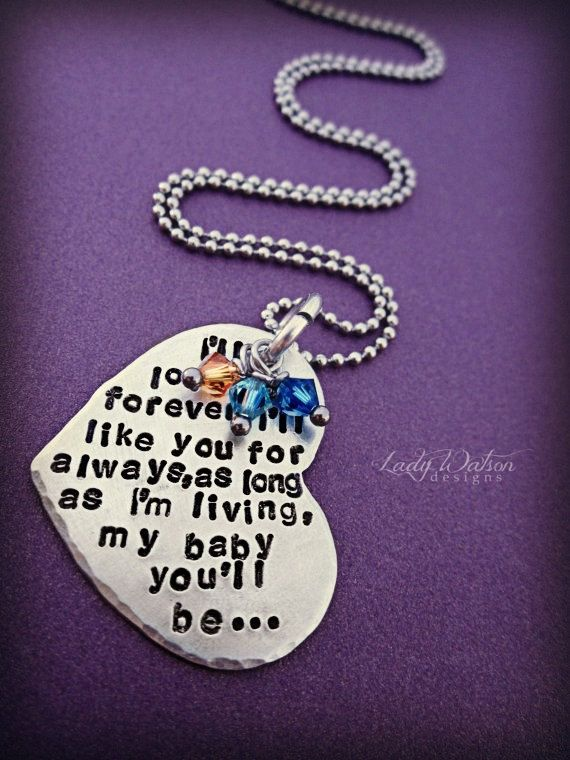 I Ll Love You Forever Book Quotes Classy I'll Love You Forever Book Quote Heart Handstamped Necklace