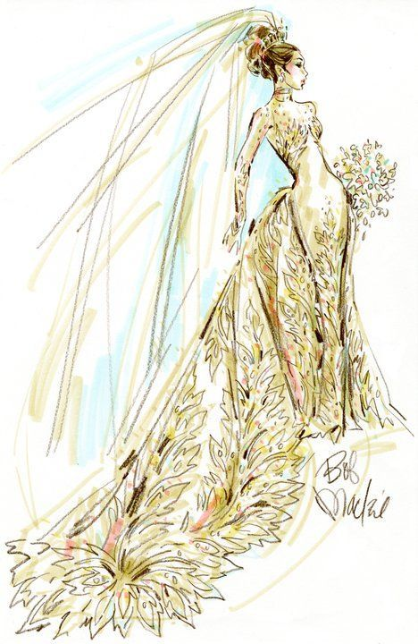 Fashion Illustration Patterns Bob Mackie sketched up this AMAZING gown to show how he envisioned the soon to be princess to look on her wedding day.