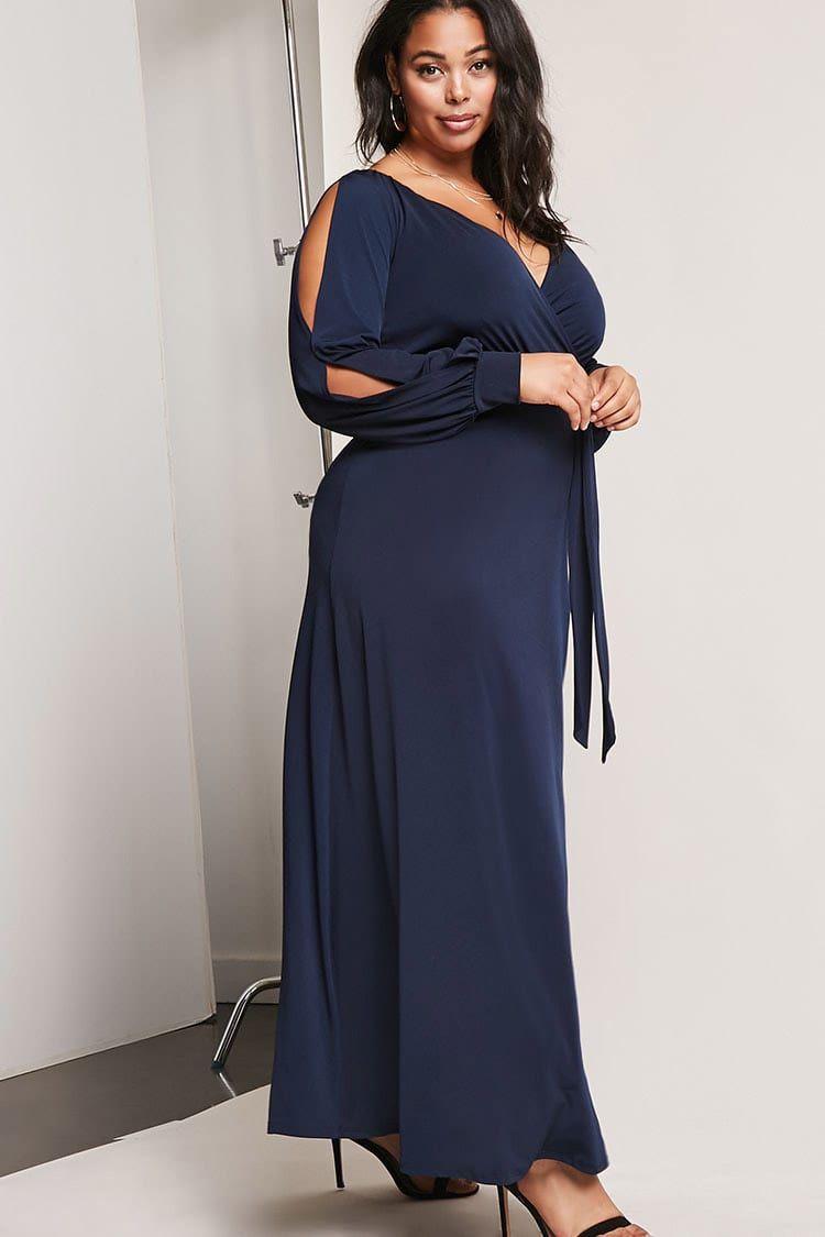 636ca0683585 Product Name Plus Size Surplice Maxi Dress